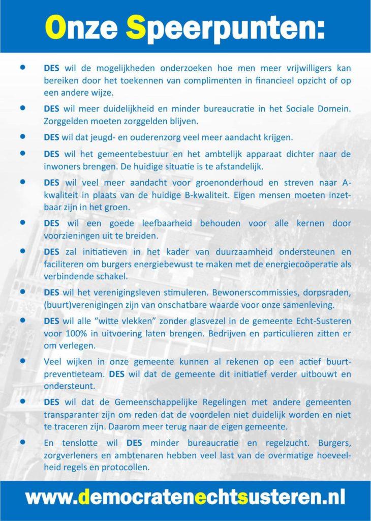 Speerpunten Democraten Echt-Susteren gemeenteraadsverkiezingen 2018